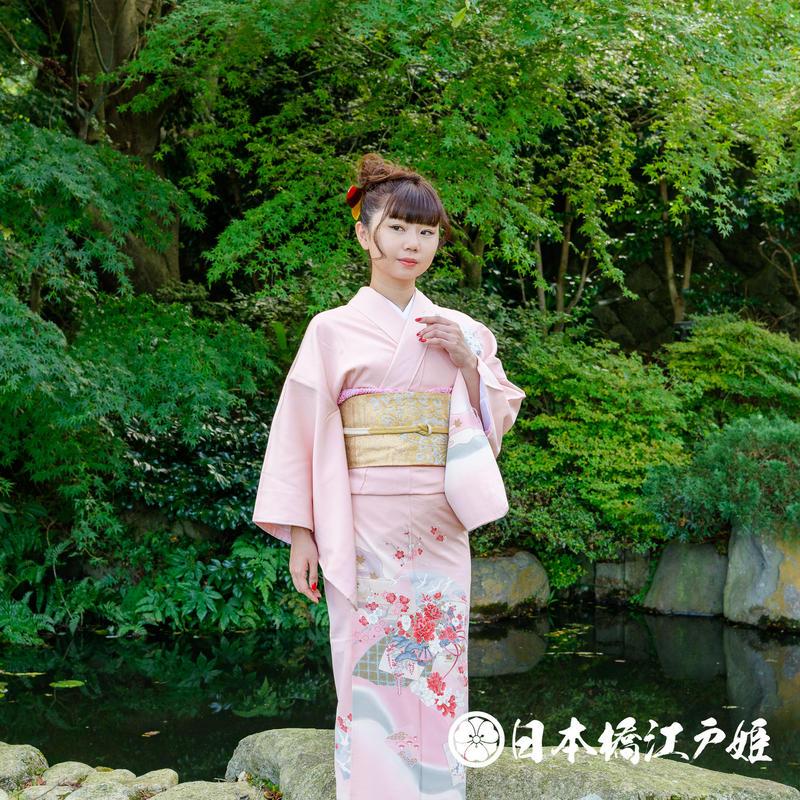 0320 訪問着 正絹 袷 薄ピンク 扇面 枝梅 牡丹 鶴 金彩 身丈153cm