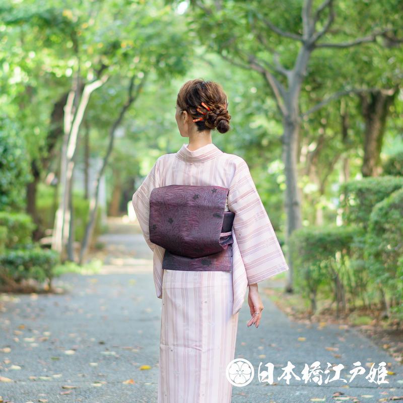 0269 夏物 名古屋帯 優品 正絹 六通し 濃紫 草花 帯丈353cm