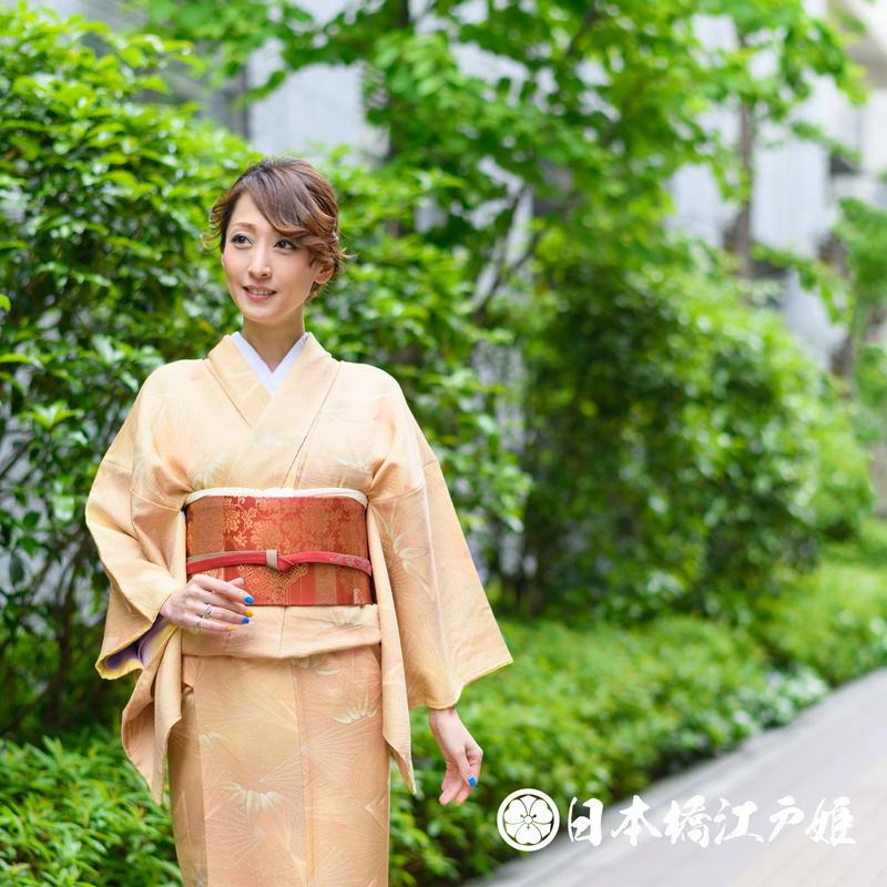0053  小紋 優品 Aランク美品 正絹 袷 薄黄土色 笹 葉扇文様 身丈157cm