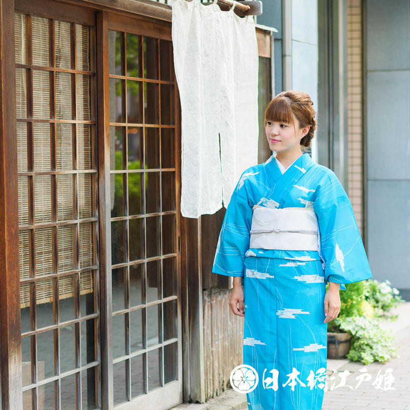 0237 夏着物(薄物) 小紋 絽 化繊