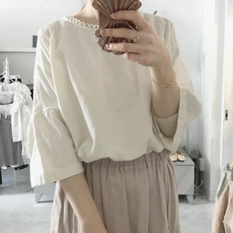 pompon cotton écru  blouse