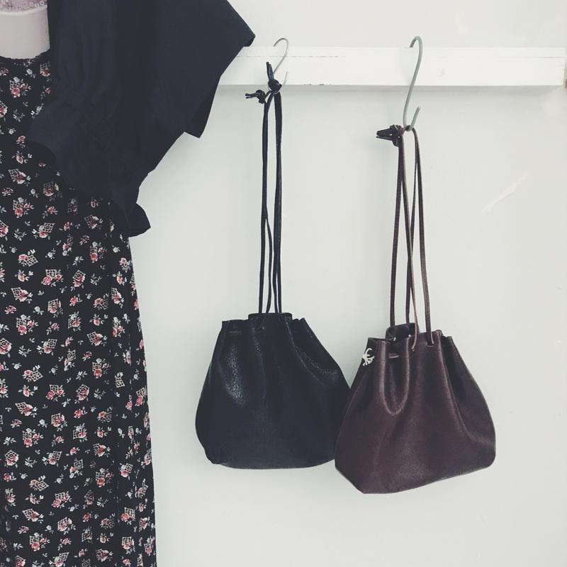 master & co.  2way  leather  巾着bag