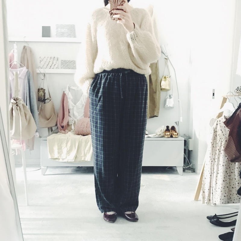 used  checked easy pants