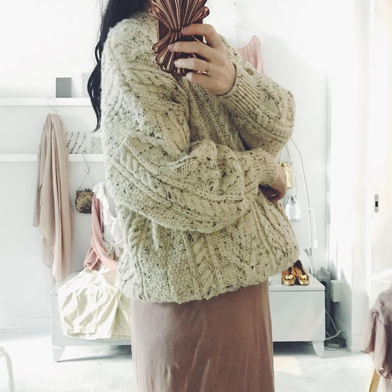 used mix aran knit
