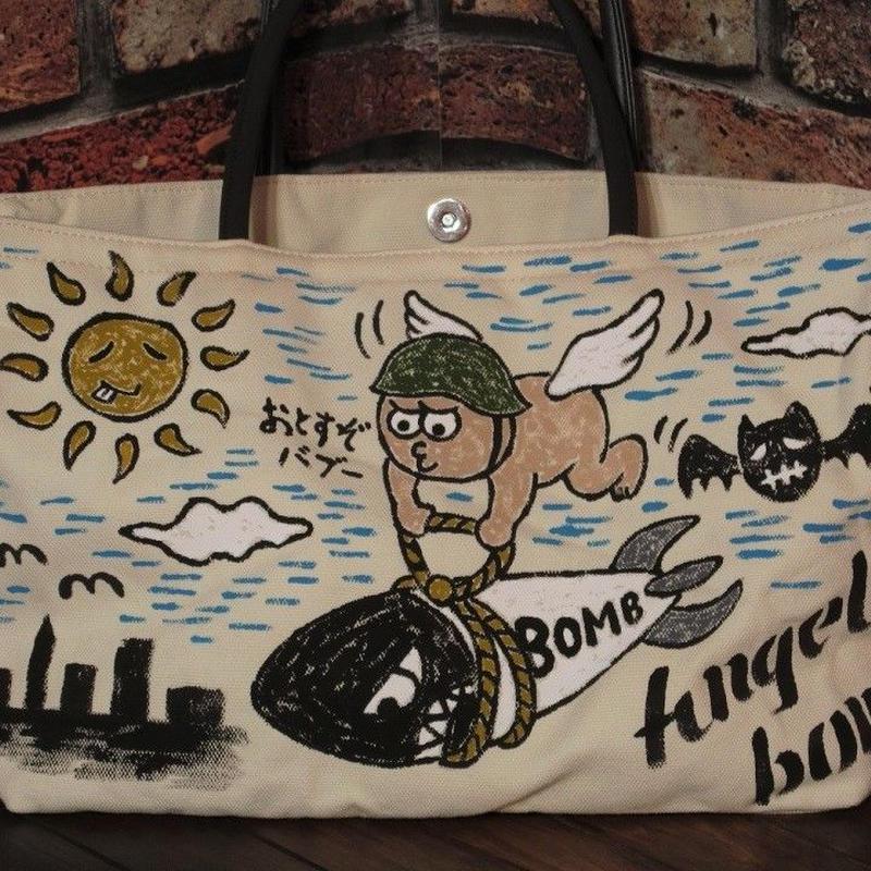 POLA ハンドバッグ ハンドペイント 天使 キャンバス地 手持ちバッグ ベージュ 横長 一点物 イラスト 手書き ミリタリー 松岡佳博