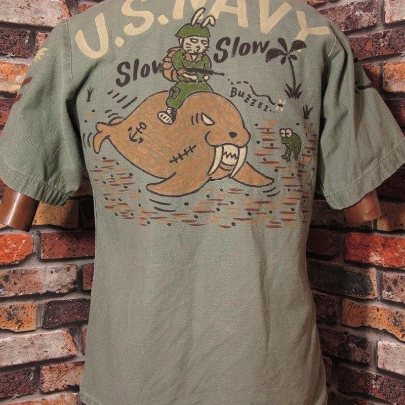 米軍 半袖シャツ Mサイズ36 ウサギ トド カーキ USN 厚地 コットン ミリタリーシャツ 手描き
