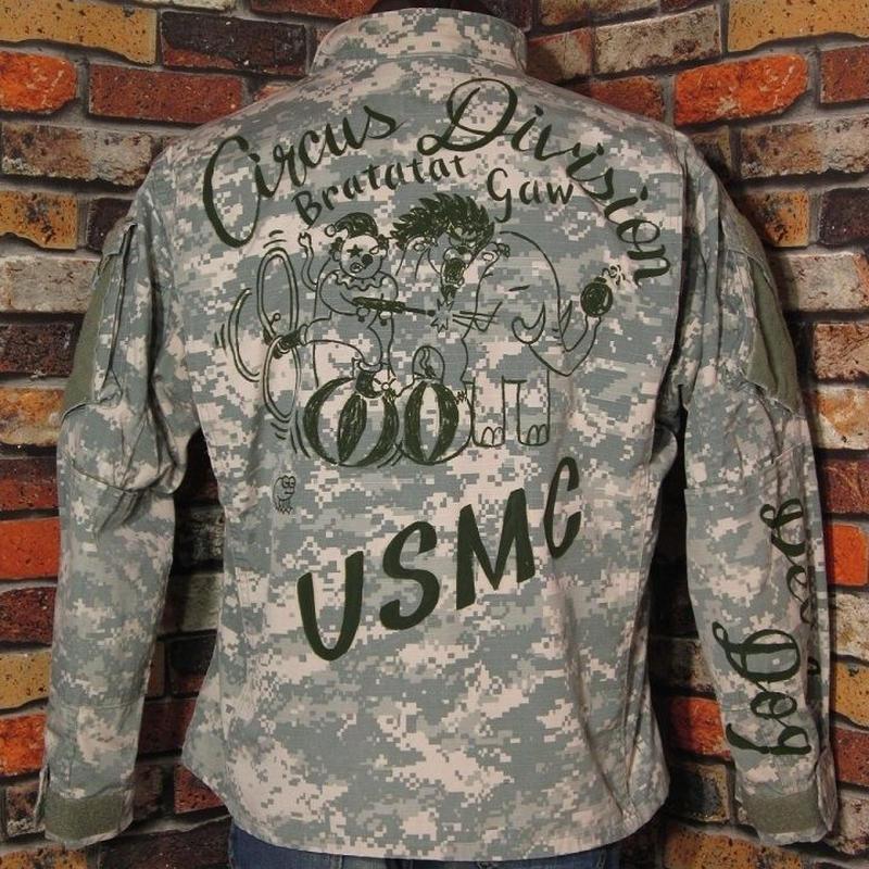 米軍 ACUジャケット Lサイズ40 ハンドペイント サーカス USMC デジタルカモ柄