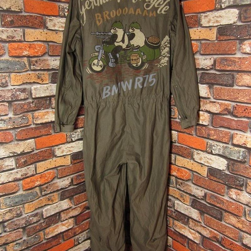 ドイツ軍 つなぎ XLサイズ フライトスーツ 手描き パンダ バイク ミリタリー 松岡佳博