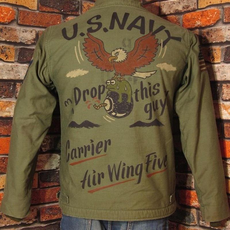 米海軍A-2デッキジャケット Mサイズ34-36 ハンドペイント 鷲 カエル 手描き