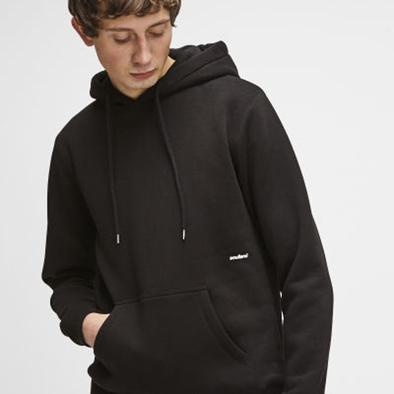 SOULLAND (ソウルランド) LOGIC WALLANCE HOODED SWEAT W. FRONT PRINT - BLACK