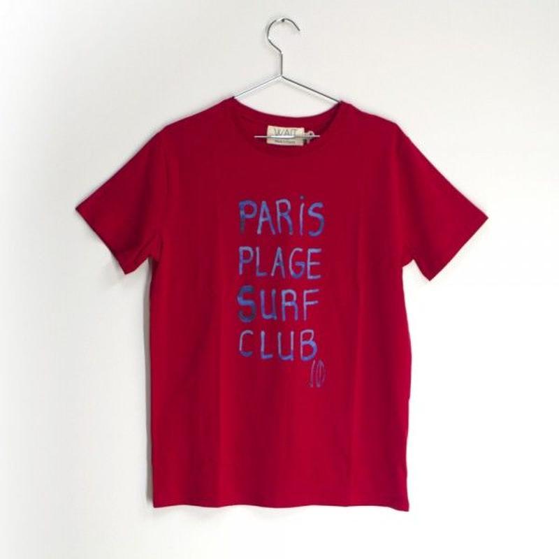 """WAIT Paint Tee """"Paris plage surf club"""" red"""