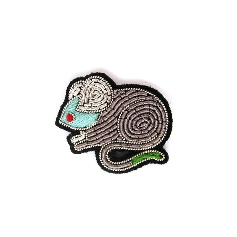 """MEDIUM HAND-EMBROIDERED """"MOUSE"""" PIN ブローチ"""