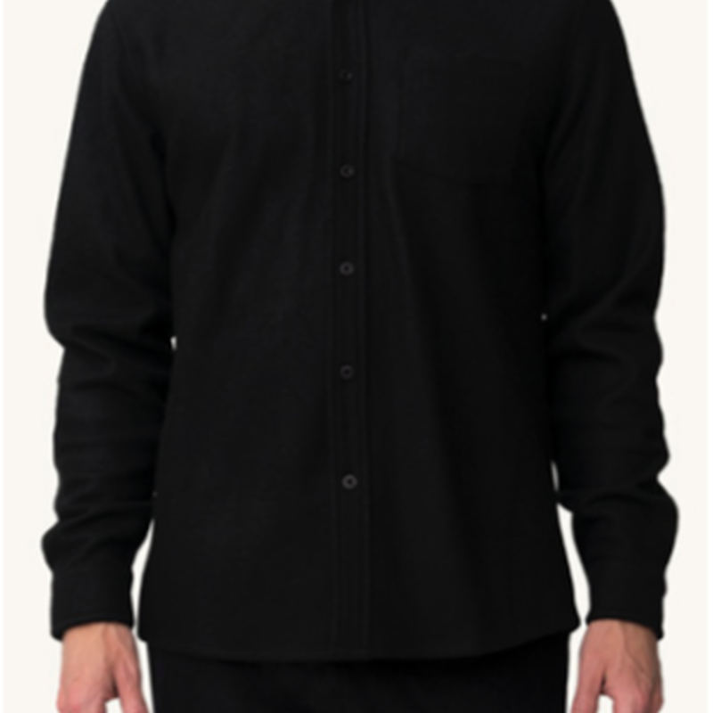 (Pleasant)BLACK WOOL SHIRT