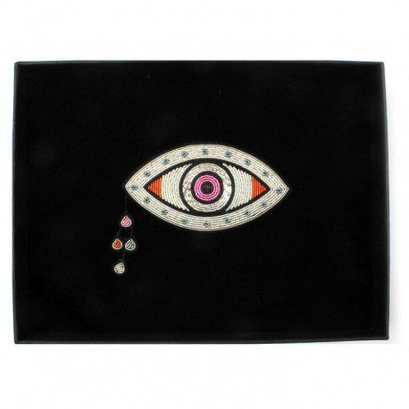 "MACON & LESQUOY マコン・エ・レスコア VERY LARGE HAND-EMBROIDERED ""CHETTINAD EYE"" BROOCH"