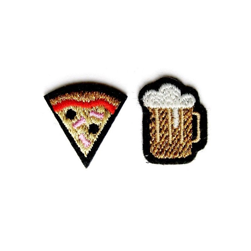 "DUO OF ""BEER & PIZZA"" PATCHES ワッペン"