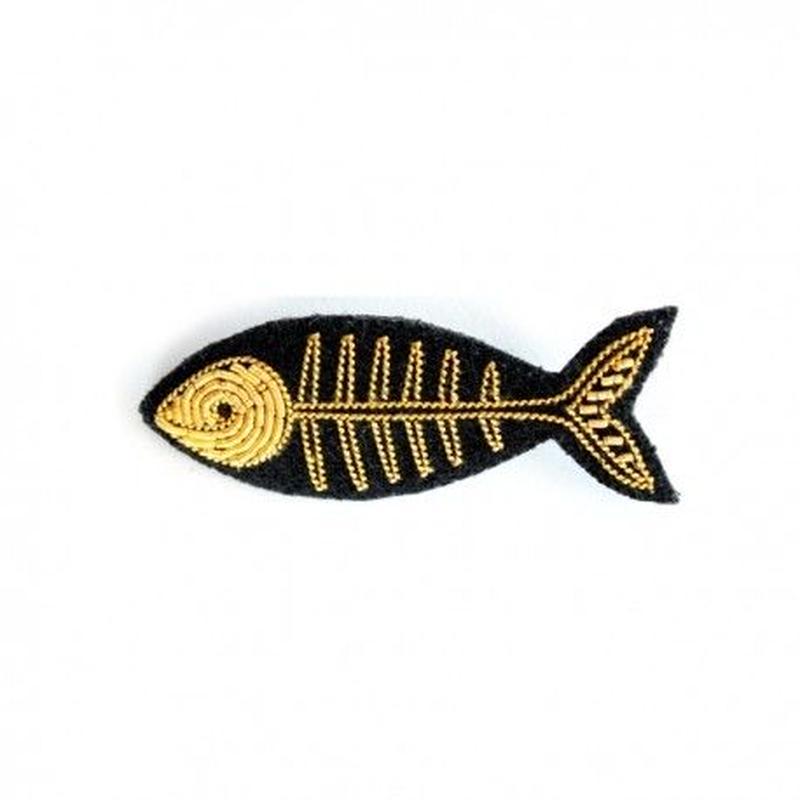 MACON & LESQUOY マコン・エ・レスコア  HAND-EMBROIDERED FISH BONE ブローチ