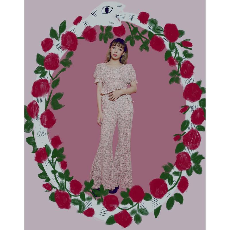 Rose motif Flare Pants