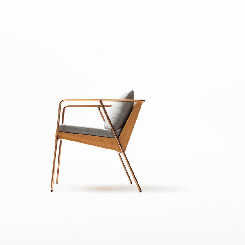 MASS Series Dining Chair -Natural Wood & Copper Frame