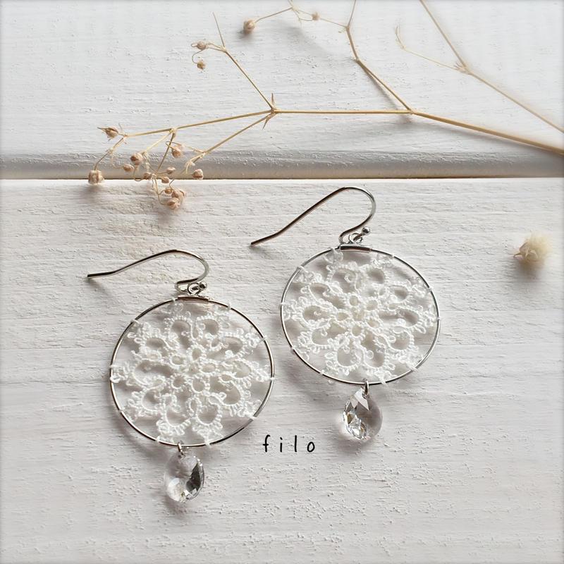 hoop Flower(ホワイト) ピアス/イヤリング