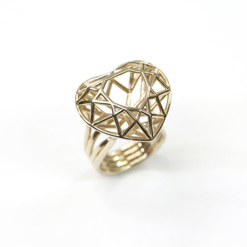 LIJ-R03-M Line Heart Ring R01M