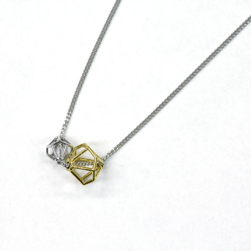 LIB-N02-SV(SV×YG) Line Beads Pendant N02S