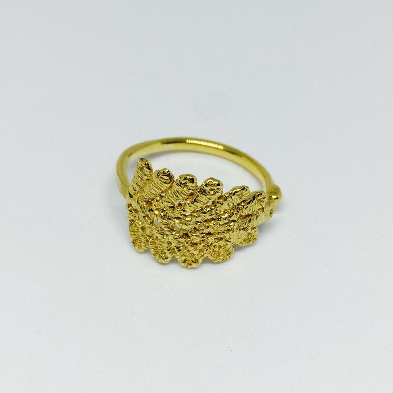 lace leaf ring (gold)---212