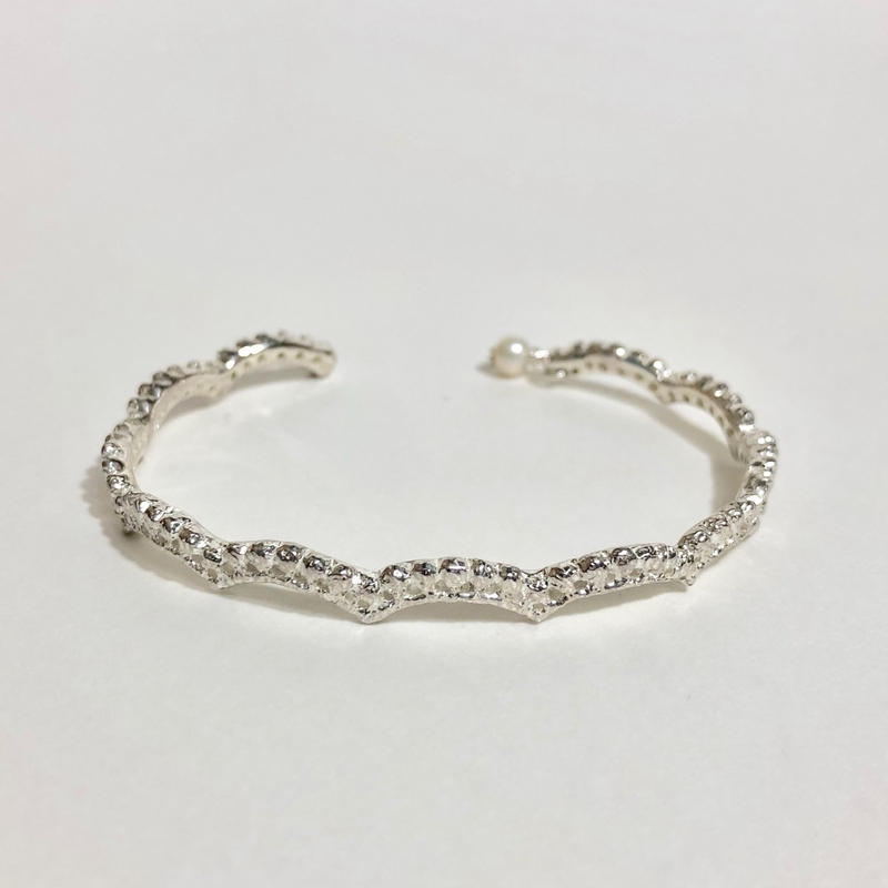 lace small wave bangle(silver)---191