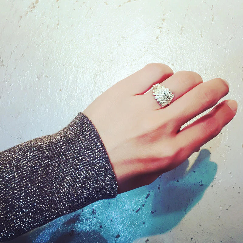 lace leaf ring (silver)---212