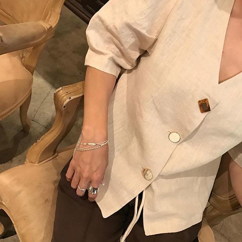 vintage button like linen blouse (2color)