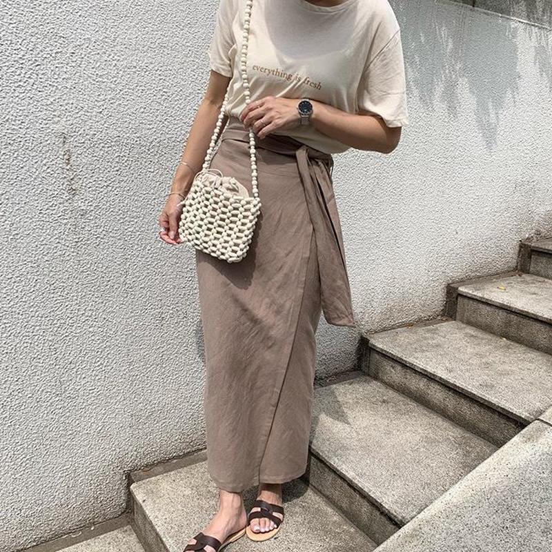 straight linen rap skirt