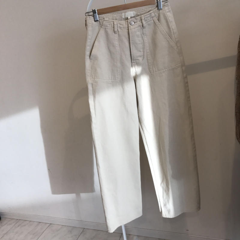 white denim baker pants