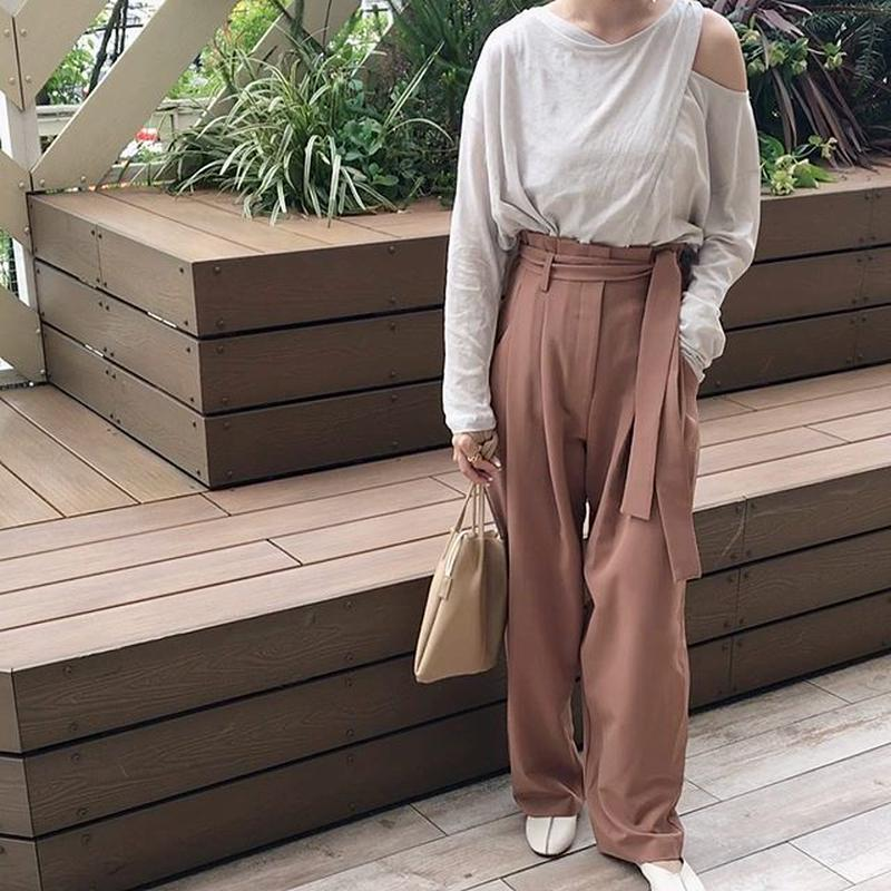 high-waist slacks pants (2color)