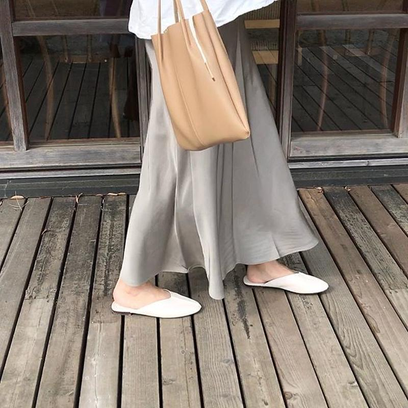 satin long skirt (3color)