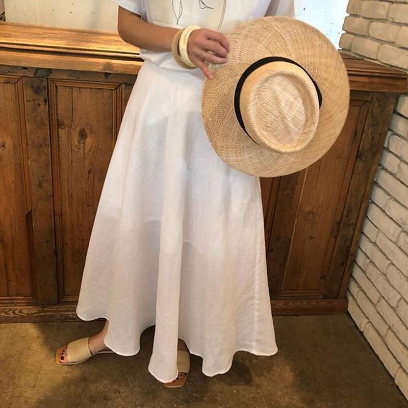 linen flare long skirt (2color)