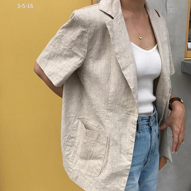 linen blend summer jacket (2color)