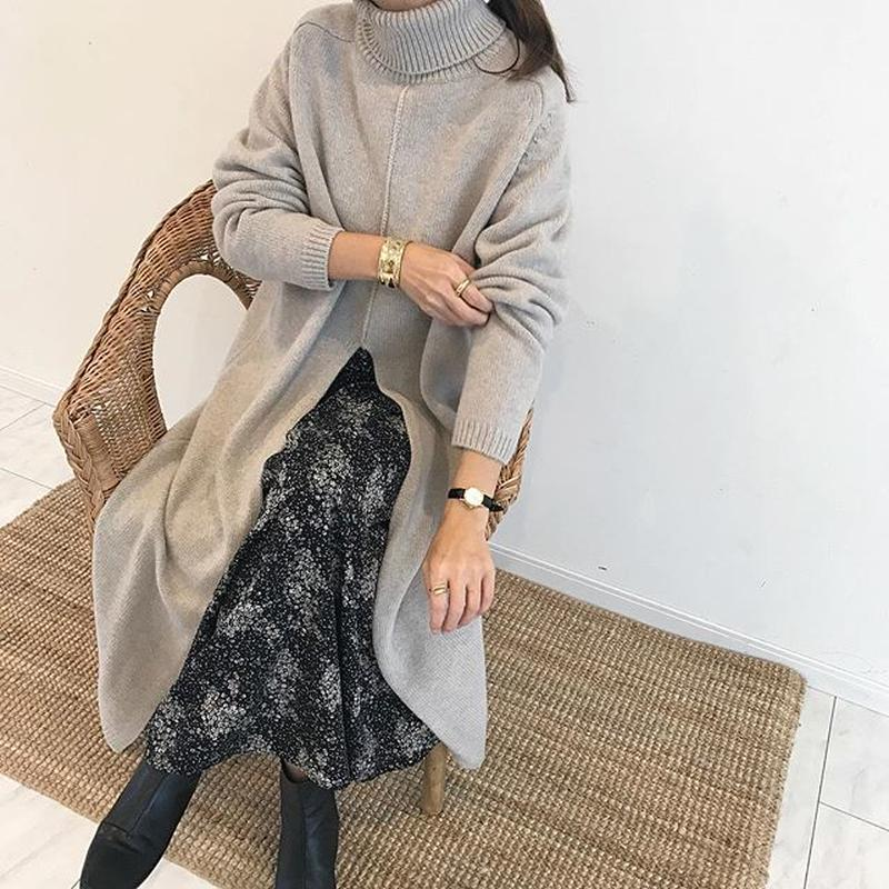 turtleneck knit slit onepiece (2color)