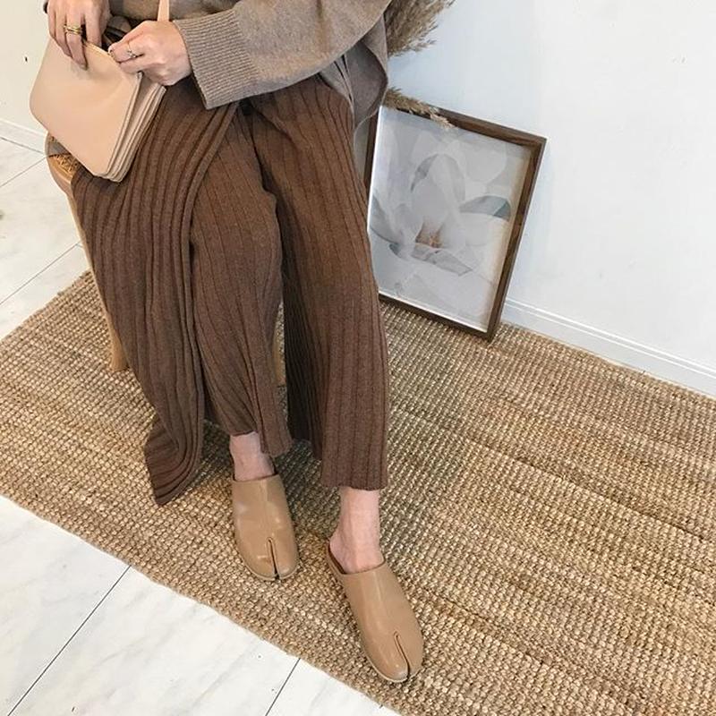 rib knit  apron pants (2color)