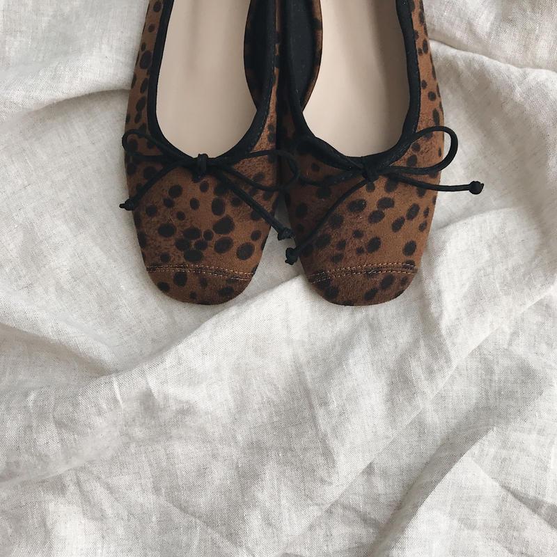 squaretoe leopard flat shoes
