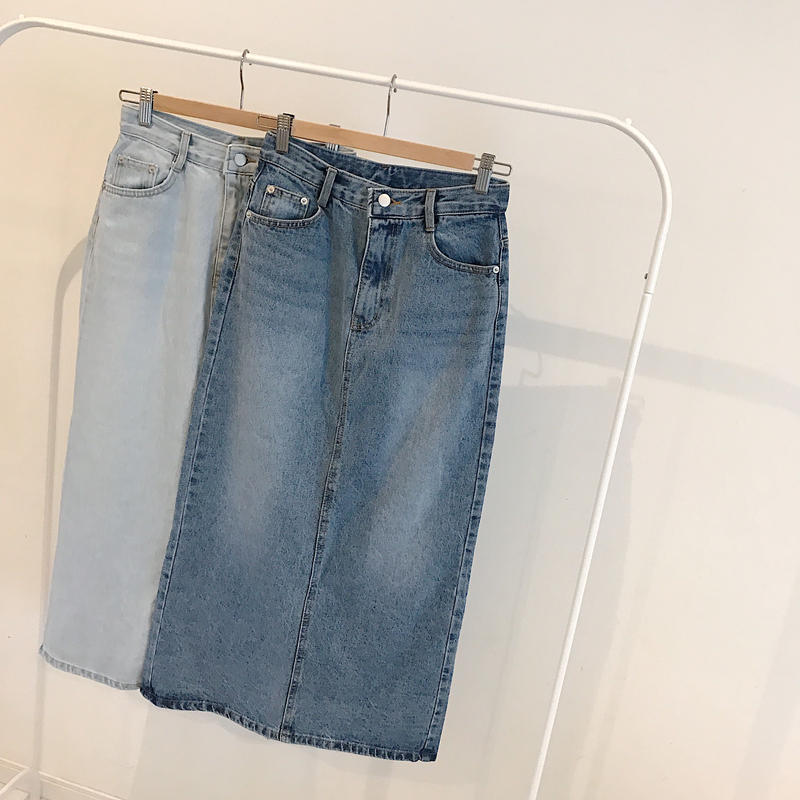tight denim long skirt (2color)