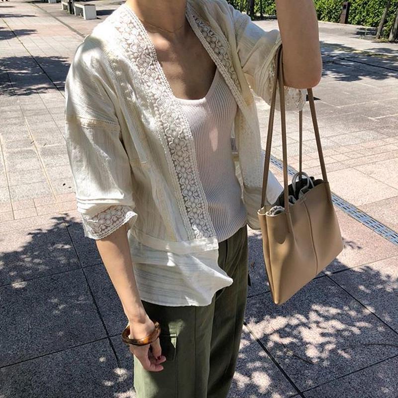 lace short gown (2color)
