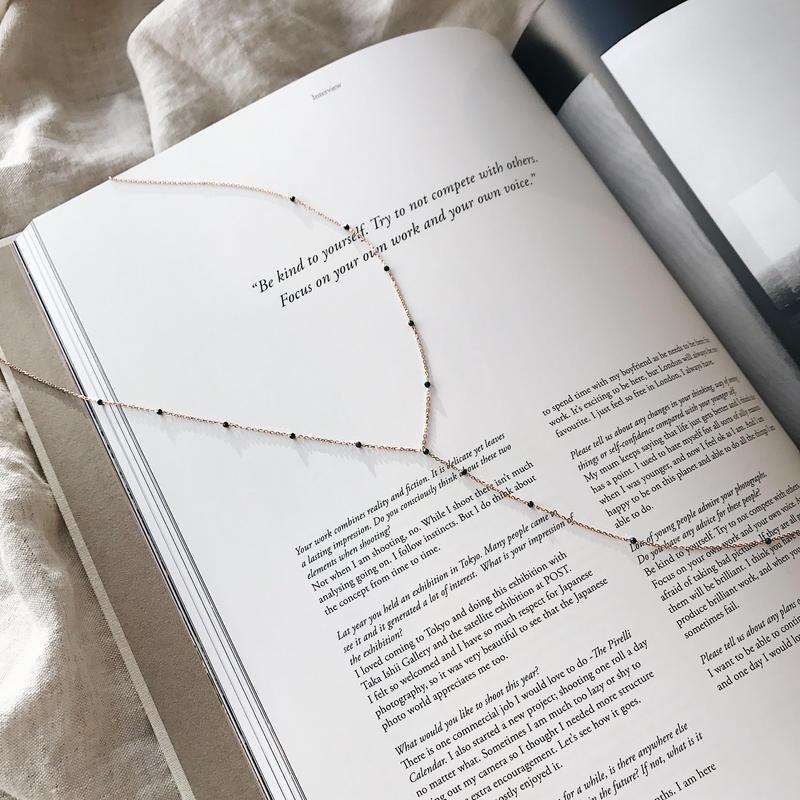 [silver925]stone Y long necklace
