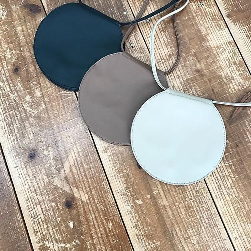 fakeleather round pochette (3color)