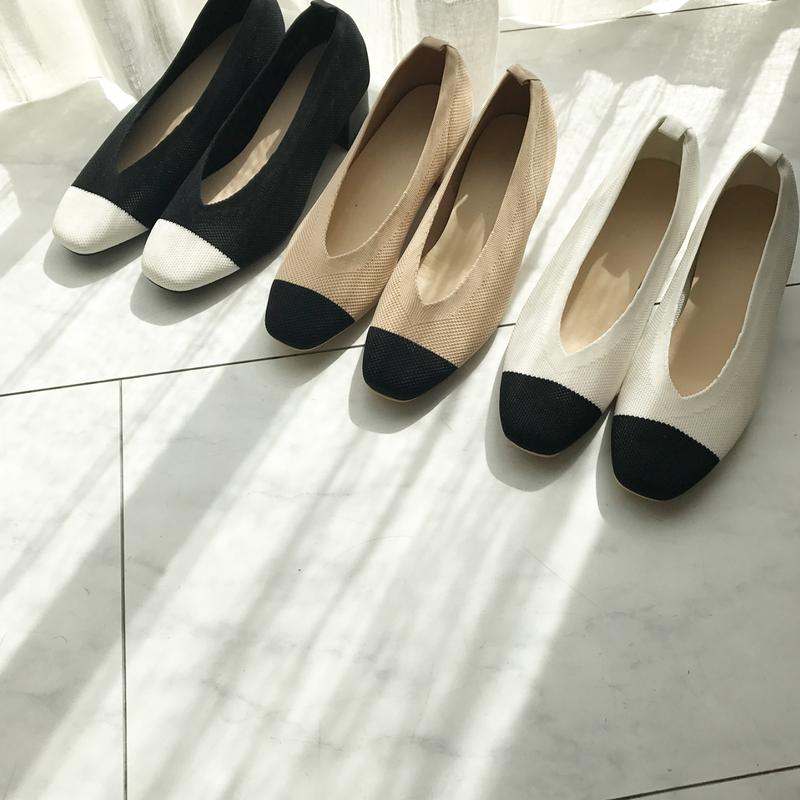 bi-color knit shoes (3color)