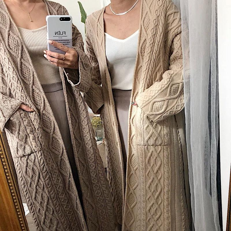 cable knit long cardigan (2color)