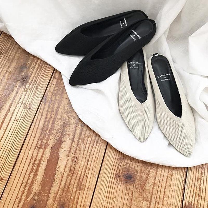 knit mule shoes (2color)