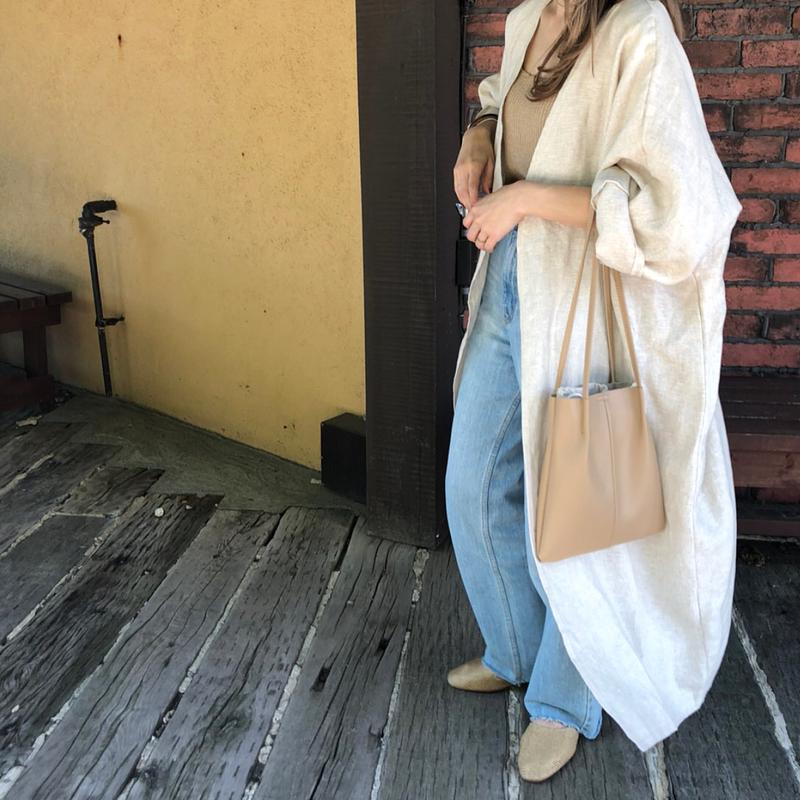 linen basic gown (2color)