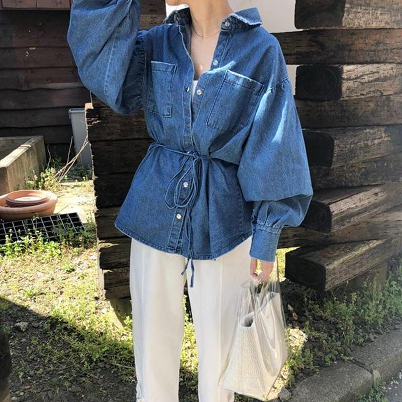 balloon sleeve denim shirt (2color)