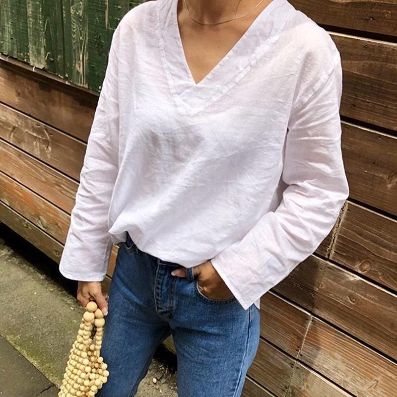 ramie v-neck blouse (2color)