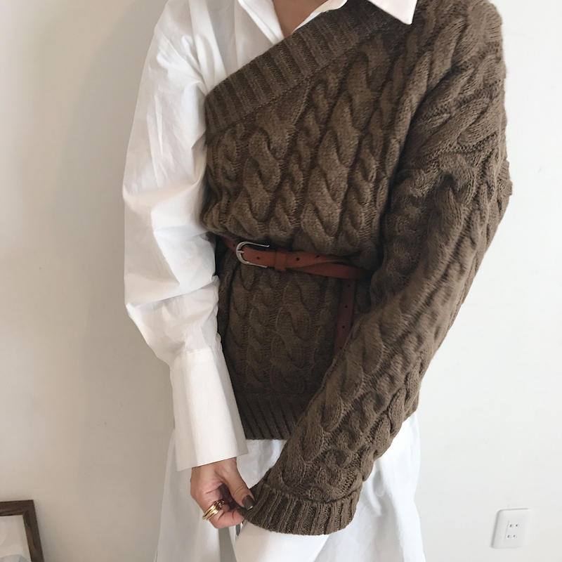 oneshoulder cable knit (3color)
