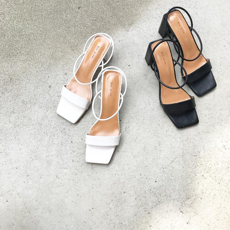square toe strap sandal (2color)